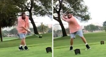 Adam Sandler Re-Enacts Popular Swing from 'Happy Gilmore' On Its 25th Anniversary