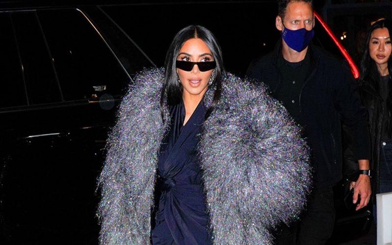 Kim Kardashian Caught In Fake Fur While Leaving SNL Rehearsal